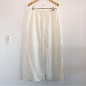 Vintage Linen blend button front maxi skirt